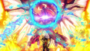 """""""Odd-Eyes Raging Dragon"""" powers up to attack."""