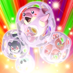 """Clockwise from left: """"Pantail"""", """"Dolphin"""", """"Chicky"""" and """"Pinny"""", in the artwork of """"Cocoon Party"""""""
