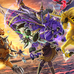 """""""Knightmare Goblin"""", """"Gryphon"""", """"Phoenix"""", """"Unicorn"""", and """"Cerberus""""  fighting """"Beckoned by the World Chalice"""" while """"Mekk-Knight Avram"""" and """"World Chalice Guardragon"""" pursue """"Knightmare Corruptor Iblee""""; in the artwork of """"World Legacy's Nightmare"""""""