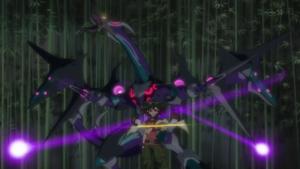 "To everyone's shock, a changed Yuya Xyz Summons ""Dark Rebellion Xyz Dragon""."