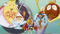 """Reed Pepper with """"Royal Cookpal Queen Omelette"""", """"Royal Cookpal Princess Pudding"""", """"Royal Cookpal Prince Curry"""", """"Royal Cookpal Knight Pasta"""" and """"Royal Cookpal King Burger"""""""