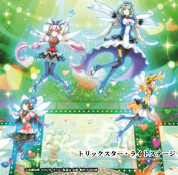 """Clockwise, from top right: """"Trickstar Holly Angel"""", """"Candina"""", """"Lycoris"""" and """"Lilybell"""" in the artwork of """"Trickstar Light Stage"""""""