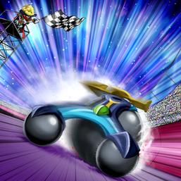"""""""Speedroid Pachingo-Kart"""" and """"Speedroid Den-Den Daiko Duke"""" in the artwork of """"Speedlift""""."""