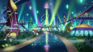 "Shay and Sora face off in ""Neo Heartland City""."