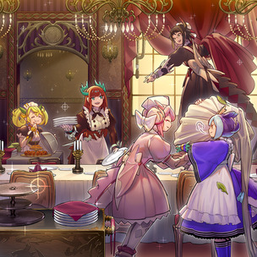 """Parlor"", ""Kitchen"", ""Nurse"", ""Laundry"", and ""House"" in the artwork of ""Dragonmaid Hospitality""."