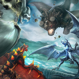 "Clockwise from top left: ""Tempest"", ""Redox"", ""Tidal"" and ""Blaster"" in the artwork of ""Dragoroar"""