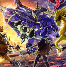 """Knightmare Goblin"", ""Gryphon"", ""Phoenix"", ""Unicorn"", and ""Cerberus""  fighting ""Beckoned by the World Chalice"" while ""Mekk-Knight Avram"" and ""World Chalice Guardragon"" pursue ""Knightmare Corruptor Iblee""; in the artwork of ""World Legacy's Nightmare"""