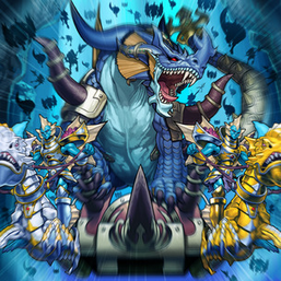 """Dragon Poseidra"" (middle), two ""Dragoons"" (front) and the shadows of ""Attack Squad"", ""Heavy Infantry"", ""Marksmans"" and ""Pikemans"" (back) in the artwork of ""Call of the Atlanteans"""