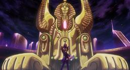 "Yugi Muto with ""Dimension Sphinx"""