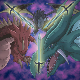 "Clockwise, from top: ""The Fang of Critias"", ""The Eye of Timaeus"" and ""The Claw of Hermos"", in the artwork of ""Legend of Heart"""