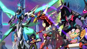 "Yuto, Yugo, and their dragons aid Yuya and ""Odd-Eyes""."