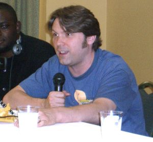 Wyman speaking on a panel on voice acting at the Big Apple Convention in Manhattan, June 8, 2008.