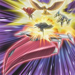"""Clockwise from upper-left: """"Beast-Warrior Puma"""", """"Phoenix Beast Gairuda"""", """"Ironhammer the Giant"""" and """"D.D. Esper Star Sparrow"""" riding """"D.D. Jet Iron""""."""