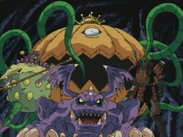 "From left to right: ""Clown Zombie"", ""Dragon Zombie"" and ""Armored Zombie"", with ""Pumpking the King of Ghosts"" in the back."