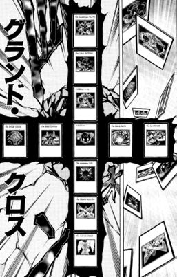 """The """"Legendary Planets"""" on Tragoedia's tablet with """"Winged Kuriboh"""". Horizontal line, left to right: """"The Despair Uranus"""", """"The Grand Jupiter"""", """"Winged Kuriboh"""", """"The Blazing Mars"""", """"The Big Saturn"""". Vertical line, top to bottom: """"The Suppression Pluto"""", """"The Tyrant Neptune"""", """"Elemental Hero Terra Firma"""", """"Winged Kuriboh"""", """"The Supremacy Sun"""", """"The Tripper Mercury"""", """"The Splendid Venus""""."""
