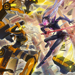 """Sky Striker Ace - Kaina"" and ""Sky Striker Ace - Roze"" in the artwork of ""Sky Striker Maneuver - Scissors Cross"""