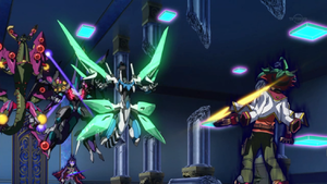 Yuya struggles with the darkness as he faces the other three incarnations and their dragons.