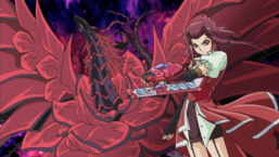 "Akiza alongside ""Black Rose Dragon""."