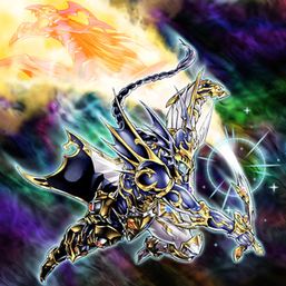 """Black Luster Soldier - Envoy of the Evening Twilight"" and ""Chaos Emperor Dragon - Envoy of the End"" in the artwork of ""Chaos Seed""."