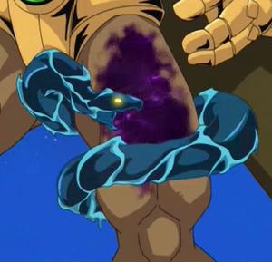 "A Venom Counter on ""Elemental HERO Wildedge"" in the anime"