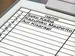 The list with Aoi Kisaragi's name.