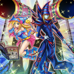 """Dark Magician Girl"" and ""Dark Magician"" (along with ""Magic Formula"", ""Magic Cylinder"", and ""Magical Dimension"") in the artwork of ""Magicians' Combination"""