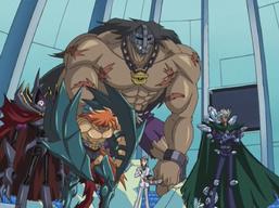 "Aster Phoenix with ""Diamond Dude"", ""Dreadmaster"", ""Captain Tenacious"" and ""Doom Lord""."