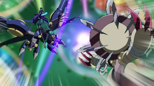 """Frightfur Leo"" attacks Shay's ""Rise Falcon""."
