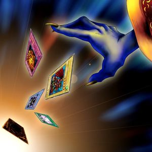 "Artwork of ""Card Destruction"", depicting cards being discarded"