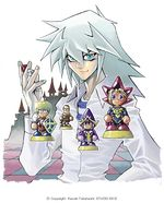 Dark Bakura, as game master with miniatures of Jonouchi, Honda, Anzu and Yugi