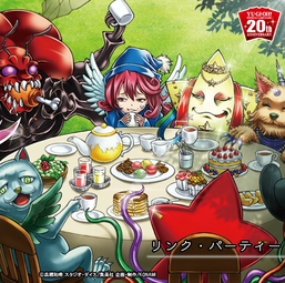 """Clockwise from top-left: """"Greatfly"""", """"Wee Witch's Apprentice"""", """"Hip Hoshiningen"""", """"Missus Radiant"""", """"Mistar Boy"""", and """"Duelittle Chimera"""" in the artwork of """"Link Party"""""""