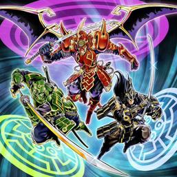 """Kizan"", ""Shi En"" and ""Enishi"" in the artwork of ""Six Strike - Triple Impact""."