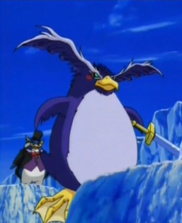 """Crump (as """"Nightmare Penguin"""") and """"Flying Penguin"""" equipped with """"Penguin Sword""""."""