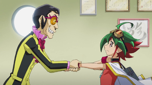 Nico Smiley appears to offer his aid to Yuya.