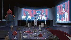 Z-one works on transforming himself into Yusei Fudo.