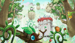"Various ""Naturia"" monsters in the artwork of ""Naturia Forest""."