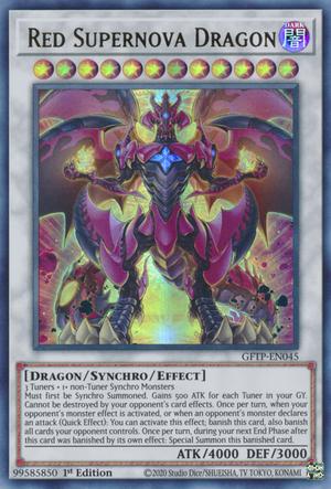 """Red Supernova Dragon"", a Triple Tuning Synchro Monster."