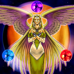 """""""The Agent of Creation - Venus"""" surrounded by three """"Mystical Shine Balls"""", in the artwork of the former card."""