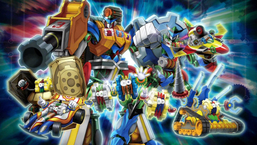 """From left to right: """"Geargiarmor"""", """"Geargiaccelerator"""", """"Geargiano"""", """"Geargiano Mk-III"""", """"Geargiano Mk-II"""", """"Geargiattacker"""" and """"Geargiarsenal"""" with """"Geargiagear Gigant XG"""" and """"Gear Gigant X"""" in the background."""