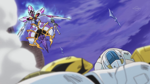 """""""Windwitch - Crystal Bell"""" looms over Yugo and his destroyed Duel Runner."""