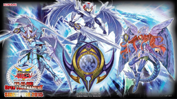 "From the left to right: ""Nekroz of Brionac"", ""Nekroz of Trishula"", ""Nekroz of Gungnir"", with ""Nekroz Mirror"""