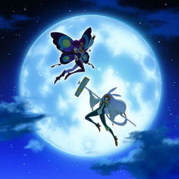 """Lunalight Purple Butterfly"" and ""Lunalight White Rabbit"" in the artwork of ""Lunalight Reincarnation Dance""."