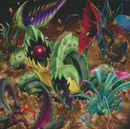 "Several ""Predaplant"" monsters in the artwork of ""Predaplast""."