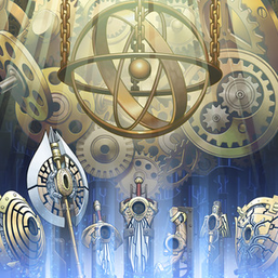"From left to right: ""Achilleshield"", ""Labrys"", ""Beagalltach"", ""Moralltach"", ""Failnaught"", ""Caduceus"" and ""Aegis"", in the artwork of ""Artifact Sanctum""."