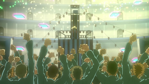 The prisoners are entertained by the show that the Lancers and Enjoy Chojiro put on.