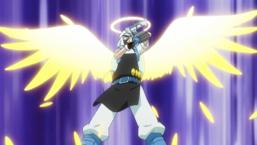 "Arai uses his new cheat technique: ""Arai Angel""."