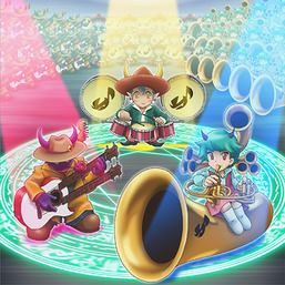 """Muzurhythm the String Djinn"", ""Temtempo the Percussion Djinn"" and ""Melomelody the Brass Djinn"" in the artwork of ""Djinn Orchestra""."
