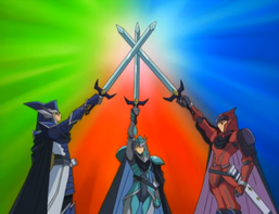 "From left to right: ""Legendary Knight Critias"", ""Legendary Knight Timaeus"" and ""Legendary Knight Hermos""."