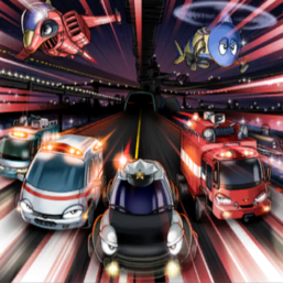 """""""Gyroid"""", """"Submarineroid"""", """"Ambulance Rescueroid"""", """"Patroid"""", """"Ambulanceroid"""", """"Rescueroid"""", """"Jetroid"""", and """"Megaroid City"""" in the artwork of """"Emergeroid Call"""""""