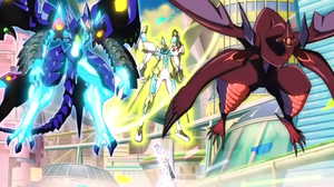 """Utopia Roots"" with ""Shark Drake"" and ""Prime Photon Dragon"" as Overlay Units."